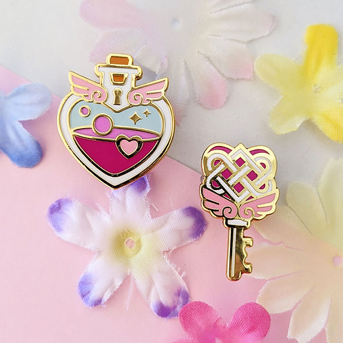 Pink or Purple Heart Love Potion Bottle and Key Enamel Pin Set