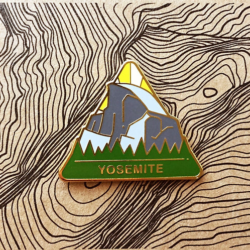 Triangle Yosemite National Park Hard Enamel Pin featuring a view of Half Dome from the valley floor..