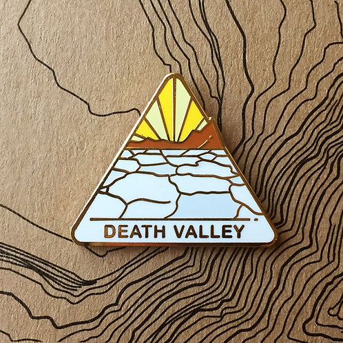 Triangle Death Valley National Park Hard Enamel Pin featuring the Badwater Basin barren salt flats landscape.