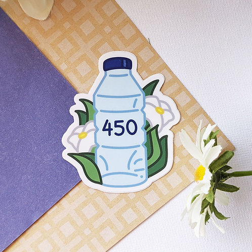 "450 Water Bottle 3"" Reminder Vinyl Sticker for Reusable Bottles"