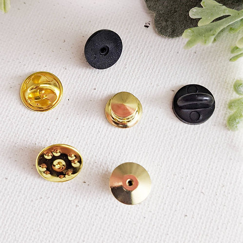 5-Pack Pin Backings for Enamel Pins - Gold Butterfly Clasps or Gold Locking Back