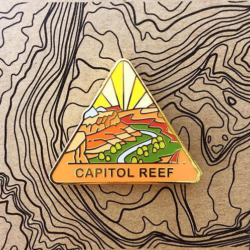 Triangle Capitol Reef National Park Hard Enamel Pin featuring Hoh Rainforest.