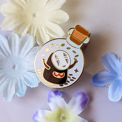 Bottled Happy No Face Money Spirit Enamel Pin