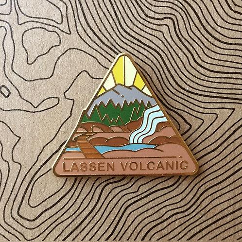 Triangle Lassen Volcanic National Park Hard Enamel Pin featuring Bumpass Hotsprings, Painted Dunes, and Lassen Peak.