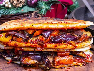 Focaccia Veggie, Chili Jam and Sun-dried Tomato Pesto Sandwich