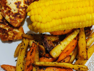 Pan Seared Paneer with Sweet Corn & Thyme Roots