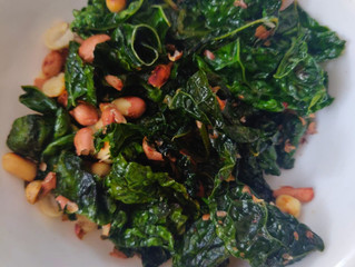 Kale & Baby Spinach Stir Fry with Peanut Miso