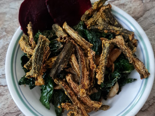 Crispy Okra & Tomato Rosemary Kale