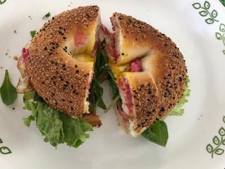 Beet Hummus Bagel Sandwiches