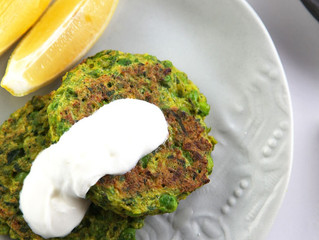 Broccoli and Peas Fritter with Goat Chevre