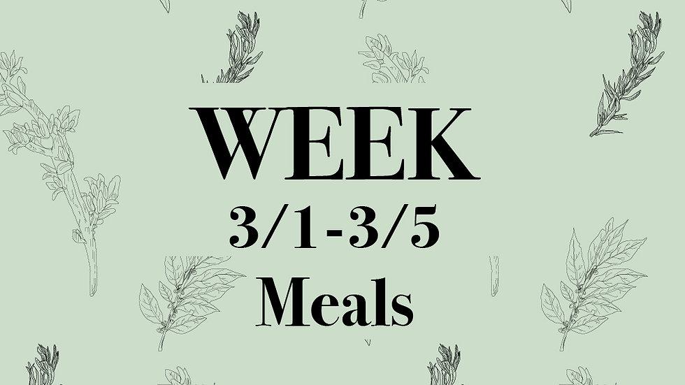 Week 3/1 - 3/5 Meals