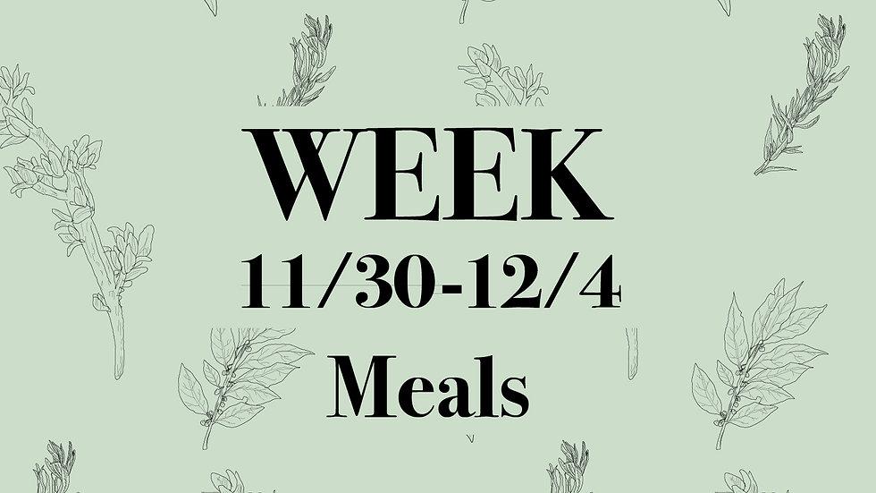 Week 11/30 - 12/4 Meals