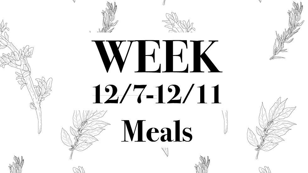 Week 12/7 - 12/11 Meals