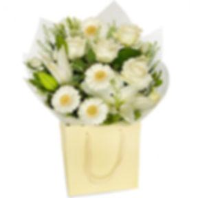 Crisp white bouquet, roses, Gemini, lili