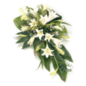 Single ended white lily spray funeral fl