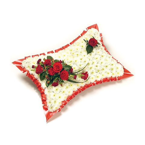 Red & white pillow funeral flowers