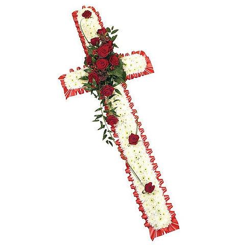 Funeral cross flowers