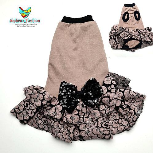 Black Bow Dress - Sphynx Cat Top