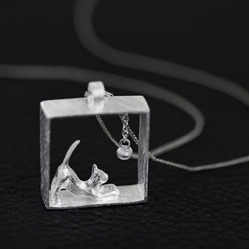 Sterling Silver Cute Cat Necklace