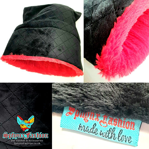 Black&Red Fleece Snuggle Pet Bed