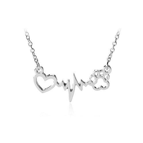 Paw Print Heartbeat Pendant Necklace