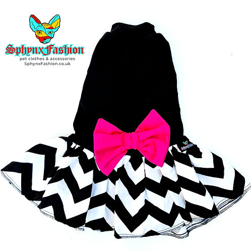 Black And Pink Bow - Sphynx Cat Dress