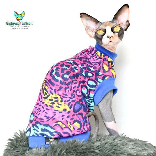 Bright Leopard Print Summer Jersey - Sphynx Cat Top