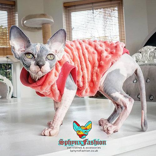 Coral Minky Fleece - Sphynx Cat Top