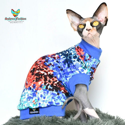 Blue and Coral Summer Jersey - Sphynx Cat Top