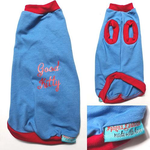 Good Kitty Blue Cotton Knit - Sphynx Cat Top