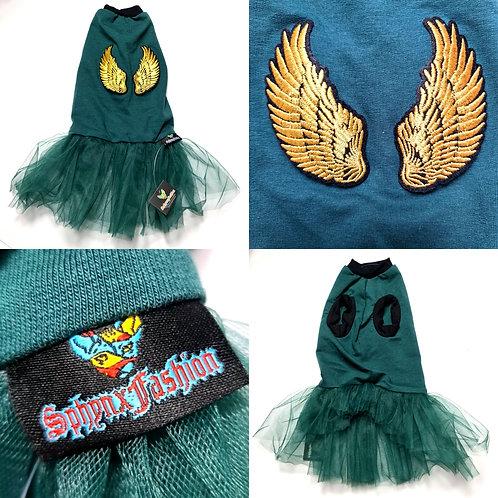 Gold Wings Green Dress - Sphynx Cat Top