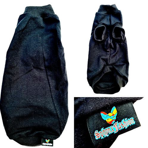 All Black Cotton Knit - Sphynx Cat Top