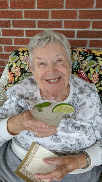 Enjoying drinks on the veranda