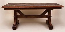 Trestle Base Reclaimed Oak Farm Table