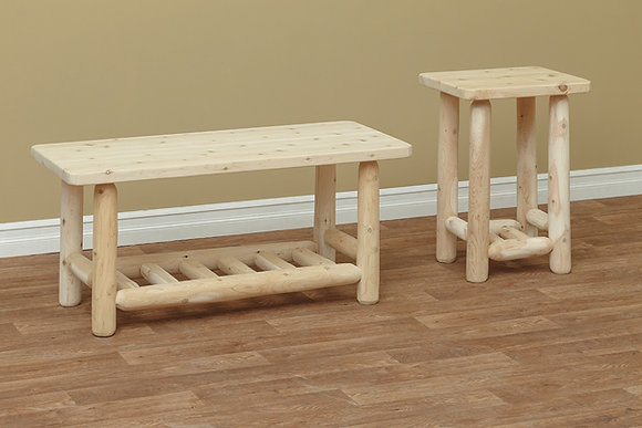 Adirondack Log Coffee & End Tables $275-$325