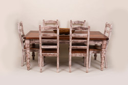 FARM TABLE WITH 6 CHAIRS AND THICK TURNED LEGS