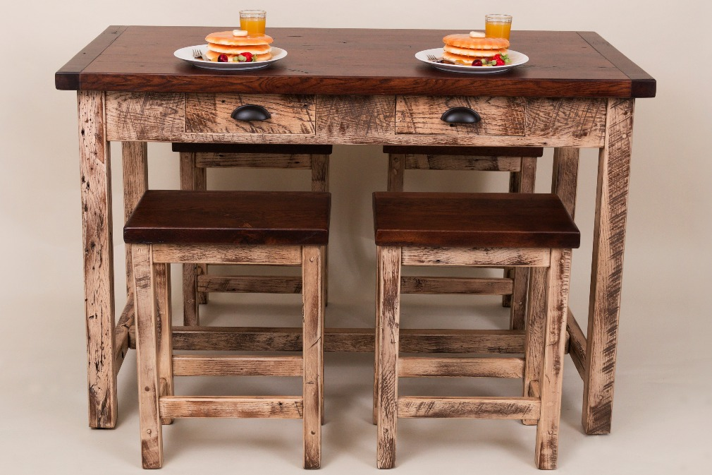 Reclaimed Island With stools