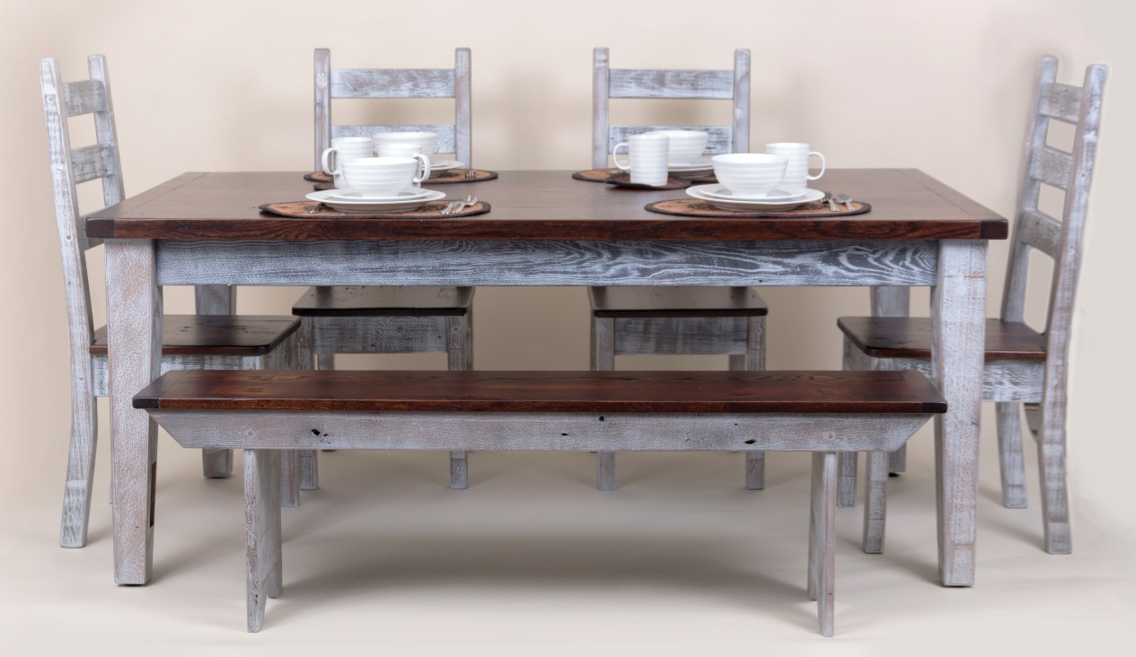 FARM TABLE WITH BECNH - CHAIRS & THICK TAPERED LEGS_edited