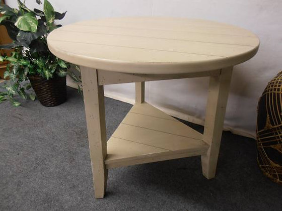 Thick Solid Wood Round Occasional Table With Triangle Base  $130