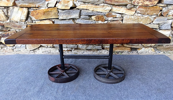 Rolling Reclaimed Wood Industrial Coffee Table $475