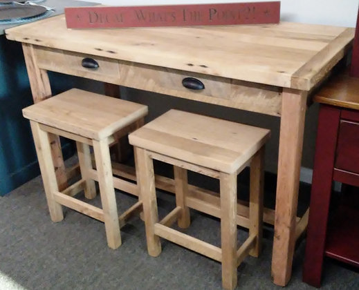 Reinhold Reclaimed Oak Island with Two Stools $815