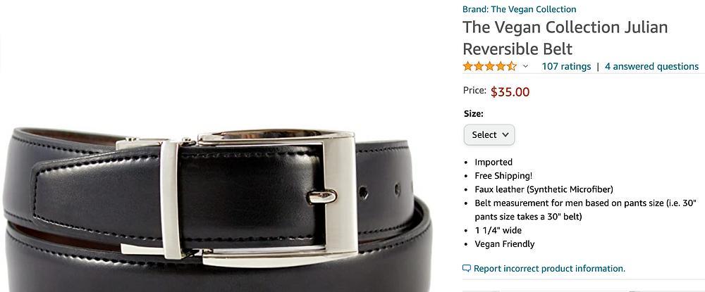 The Vegan Collection - Men's Vegan Leather Reversible Belt