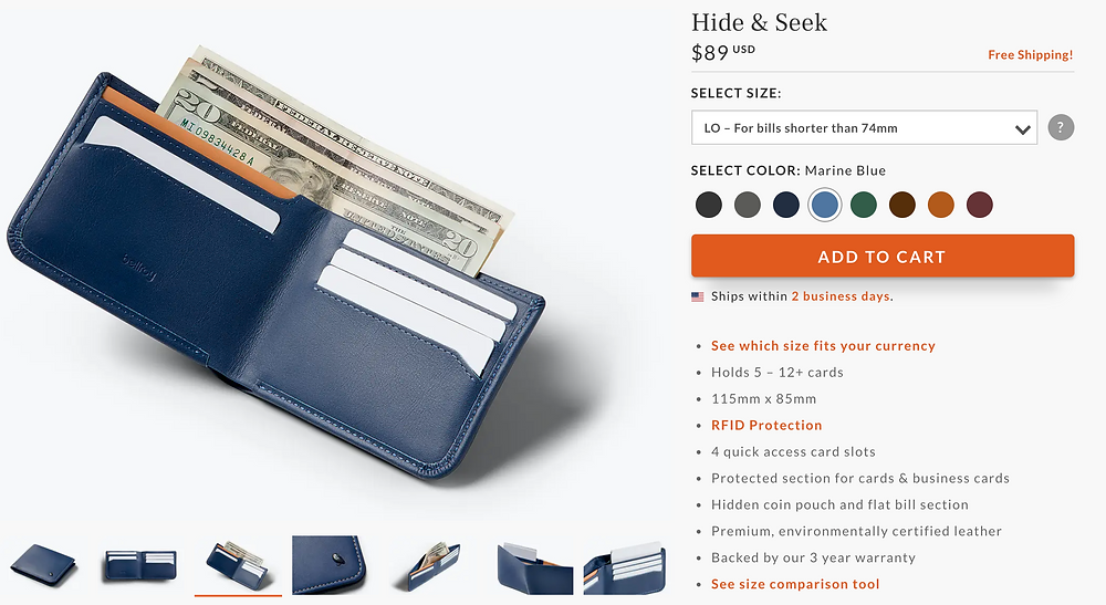 Sustainable environmentally certified leather wallet
