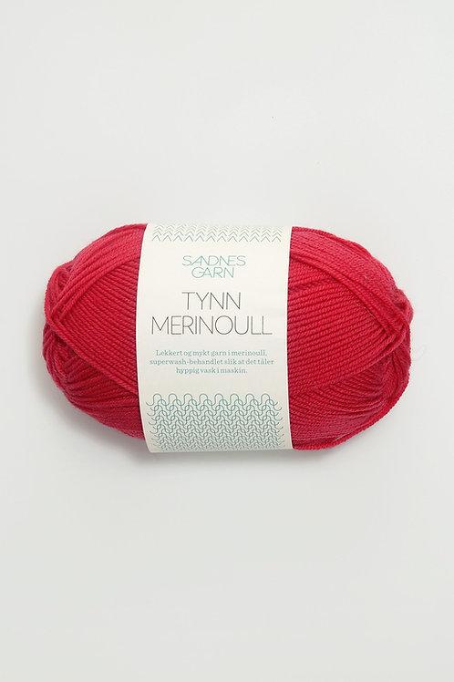Tunn Merinoull 4327 (Hallonröd)