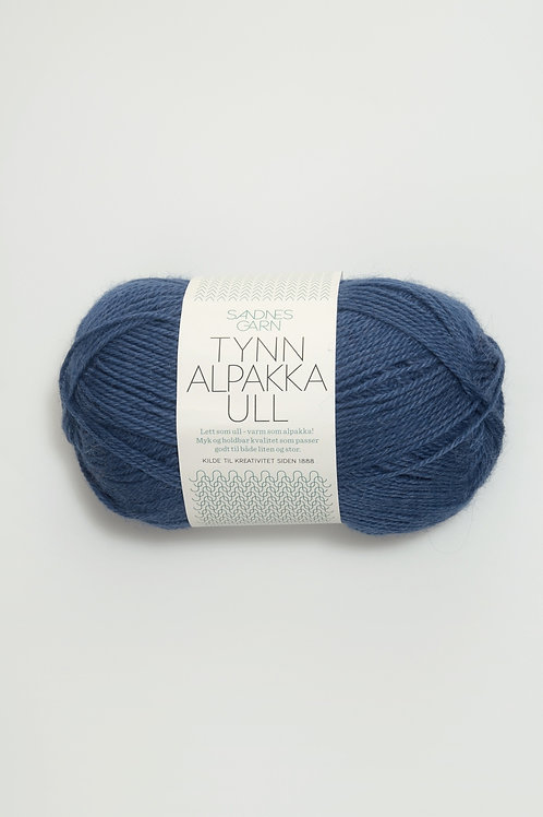 Tunn Alpakka Ull 6364 (Mörkblå)