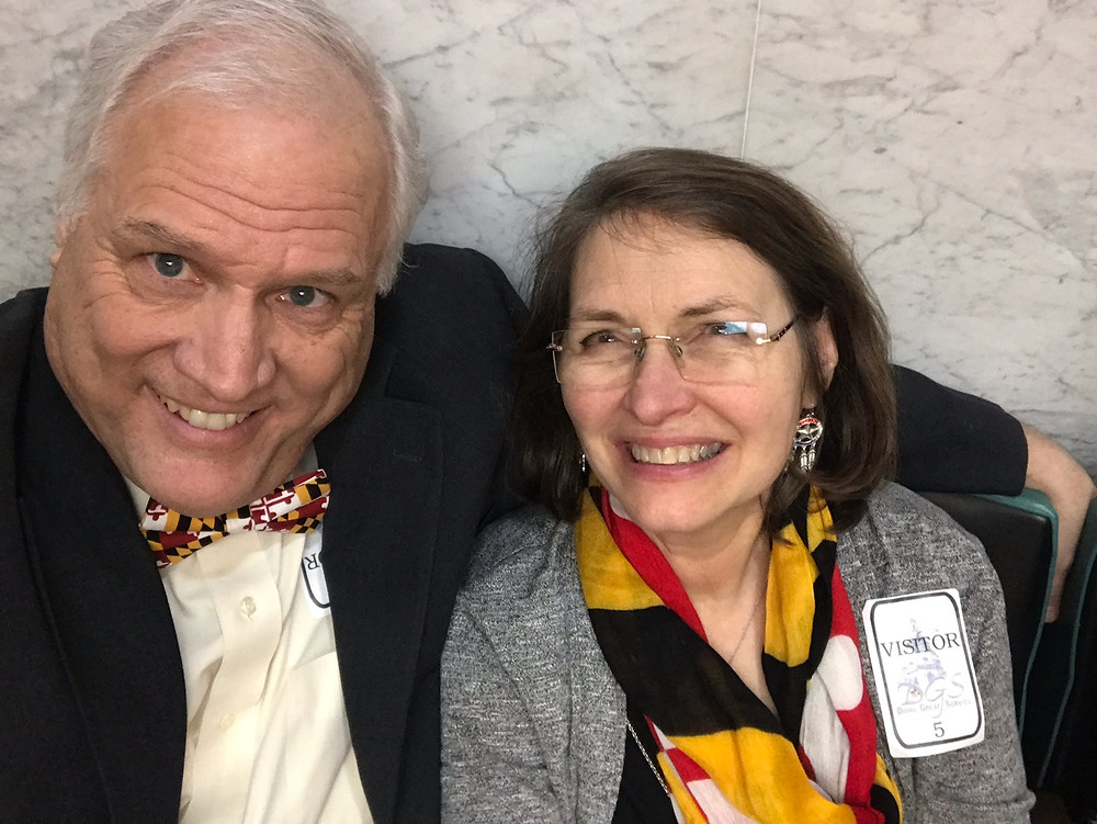 Gary and Sally in Annapolis for the swearing in of their son, Delegate Daniel Cox