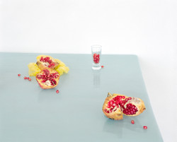 Pomegranates on Blue With Glass