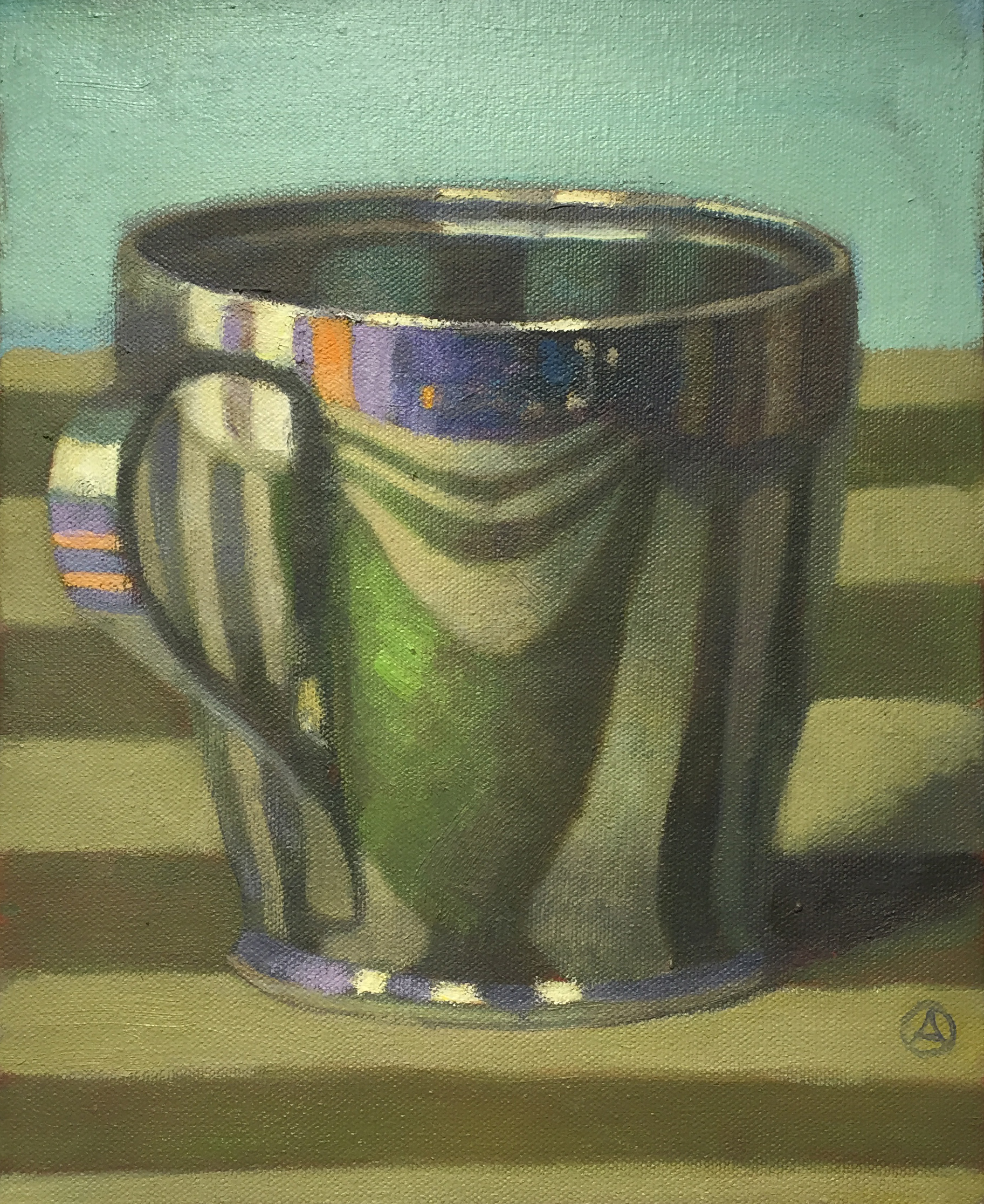 Cup on Striped Tablecloth