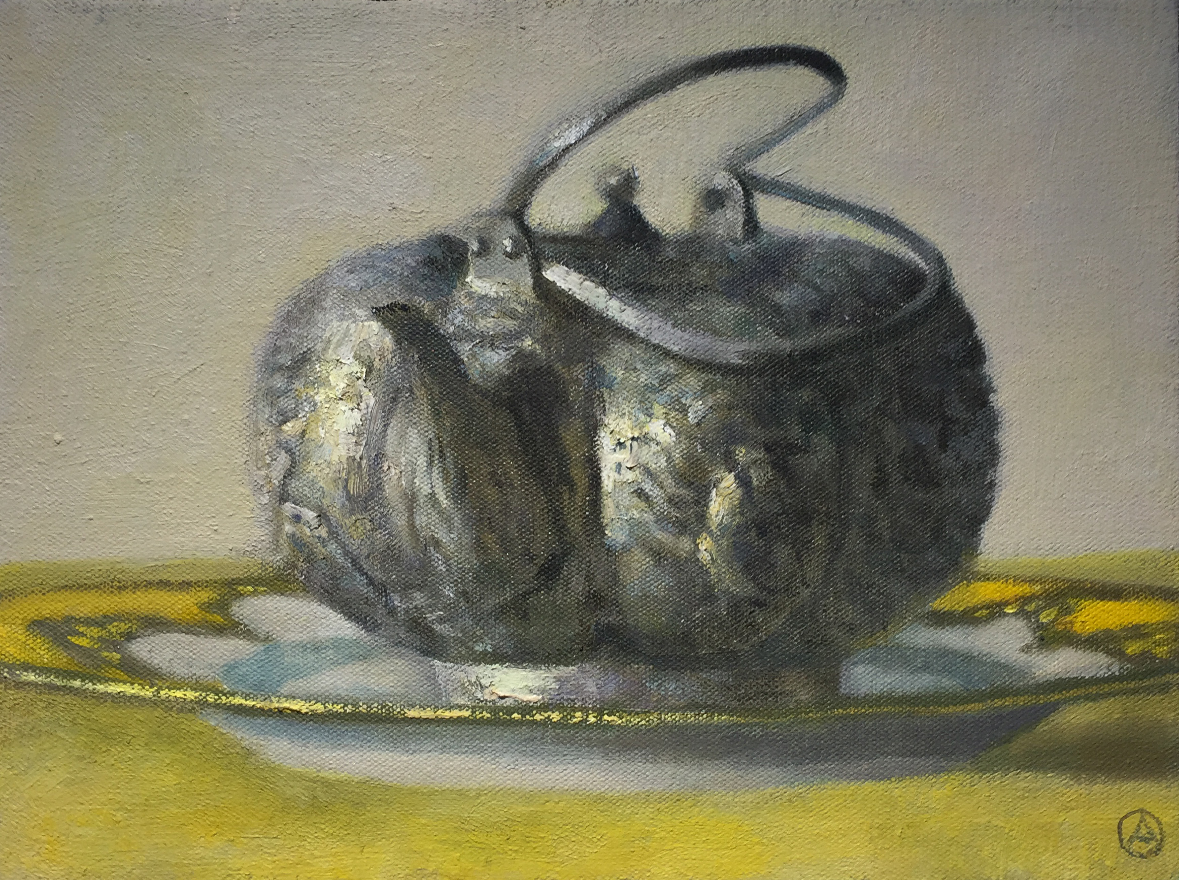 Asian Teapot on Yellow