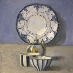 Two Cups, Teapot & Plate